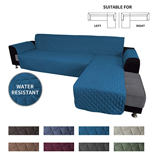 Easy-Going Sofa Slipcover L Shape Sofa Cover Sectional Couch Cover Chaise Lounge Slip Cover Reversible Sofa Cover Furniture Protector Cover for Pets Kids Dog Cat(Small,Peacock Blue/Peacock Blue)