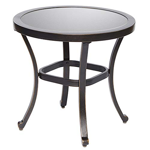 dali Outdoor End Table, Tempered Glass Table Patio Bistro Table Top Garden Home Furniture Side Table 22 Dia x 20.6 Height