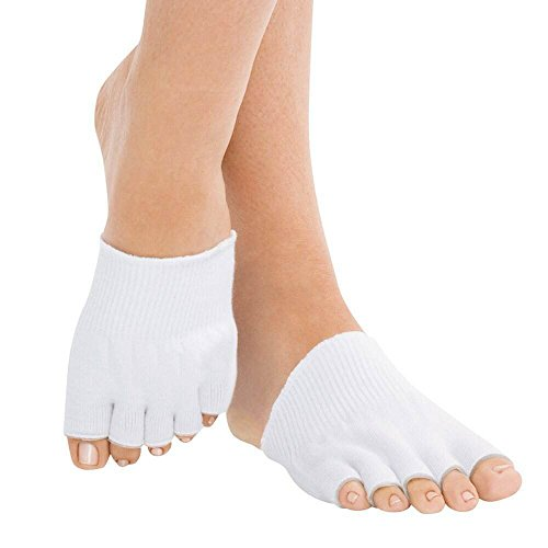 (White, 1 Pair) ASRocky Gel-lined Open Toes Compression Socks Therapeutic Spa Toe Separating Comfy Gel Socks Foot Pain Relief Moisturizing Recovery Dry Cracked Skin (Medium, White - 1 Pair)