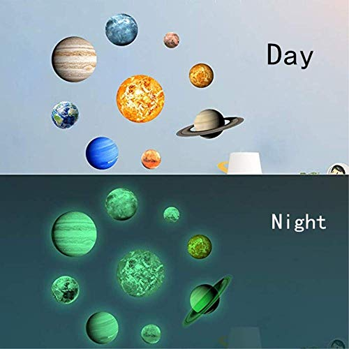 Planet and Stars Glow In The Dark Wall Stickers Brightest 9 Solar System Earth Sun Mars and more For Kid Girl Boy Bedroom Living Room Ceiling Decals Shining Space Decoration Decor Inspiring Atmosphere (3d Planets Glow In The Dark Instructions)