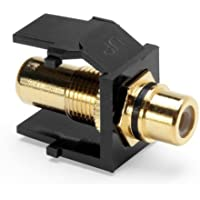 Leviton 40830-BEE QuickPort RCA, Gold-Plated Connector with Black Stripe, Black