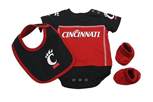 (Outerstuff Cincinnati Bearcats Baby Clothing, University 3 Piece Creeper Bib Booties Apparel Set )