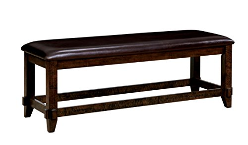 HOMES: Inside + Out IDF-3152BN Gladdis Transitional Bench Brown Cherry Leatherette by HOMES: Inside + Out