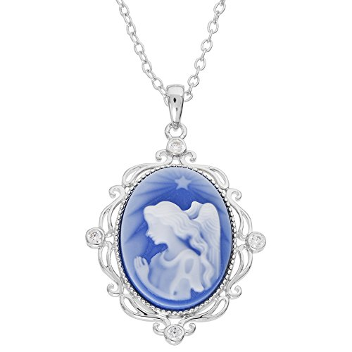 DIAMONESS Sterling Silver Cubic Zirconia Cameo Angel Pendant Necklace, 18