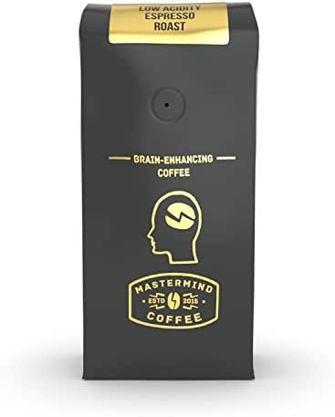 Alkaline Buzz - Brain Enhancing Ground Espresso Roast - 100% Organic Low Acid Coffee - Heightens Mental Acuity, Improves Memory & Focus - Impossibly Delicious! (16 oz)