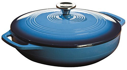 Lodge EC3CC33 Enameled Cast Iron Covered Casserole, 3.6-Quart, Caribbean Blue (Coated Cast Iron Skillet)