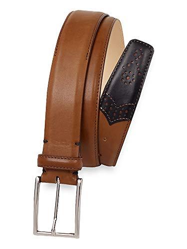 Paul Fredrick Men's Lachlan Leather Belt Black/tan 36
