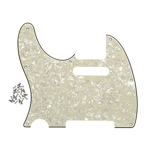 Pickguard Tele Style (FLEOR 8 Holes Left handed Pickguard Front Scratch Plate for USA/Mexico Standard Fender Teles Style,4-Ply Aged Pearl)