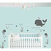 Whale Seaweed Waves Sea Stars And Octopuses Animal Series - Nautical Theme - ...