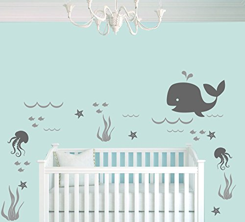 Whale Seaweed Waves Sea Stars And Octopuses Animal Series - Nautical Theme - Baby Boy - Wall Decal Nursery For Home Bedroom Children (706) (Wide 22