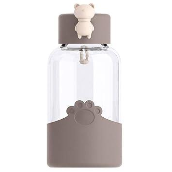 BEIGU - Botella de Agua de Cristal con Forma de Oso portátil para niños, niñas