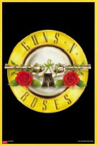 1art1 Guns N Roses P/óster con Marco - Logo Madera DM 91 x 61cm