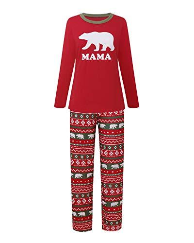 Funny Christmas T Shirts, Family Matching Christmas Pajamas Sets Papa Mama Kids Babys Holiday Sleepwear Bear Nightwear Mama L ()