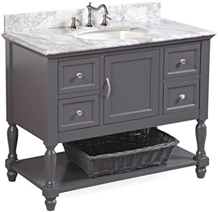 Beverly 42-inch Bathroom Vanity Carrara Charcoal Gray Includes Authentic Italian Carrara Marble Countertop, Charcoal Gray Cabinet with Soft Close Drawers, and White Ceramic Sink