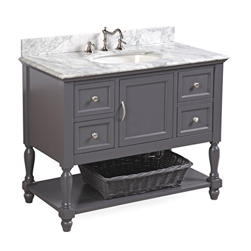 Beverly 42-inch Bathroom Vanity (Carrara/Charcoal Gray): Includes Authentic Italian Carrara Marble Countertop, Charcoal Gray Cabinet with Soft Close Drawers, and White Ceramic Sink