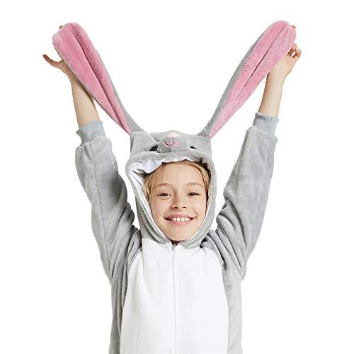 Jupiter Halloween Costume (ANBOTA Kids Bunny Costume Onesie for Halloween Boys Girls Party Rabbit Cosplay Fleece One Piece Pajama Zipper Closure, Gray,)