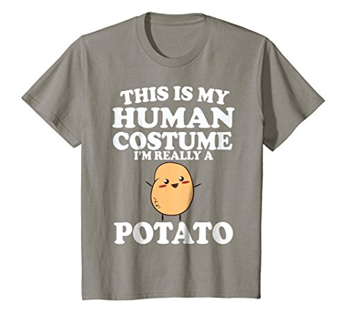 Kids This Is My Human Costume I'm Really a Potato Shirt Halloween 12 Slate -