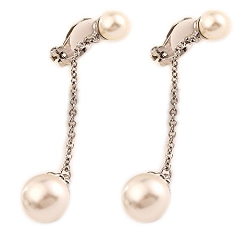 Clip On Earrings Silver Tone Simulation Pearl Tassel Chain Dangle Earrings for Wedding Costume by Menoa