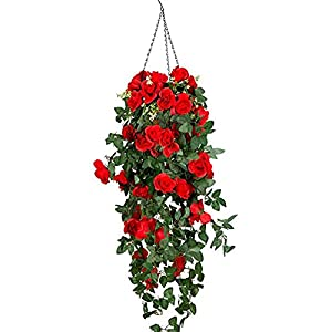 Lopkey Artificial Rose Hanging Basket Decorative Silk Plant,Red