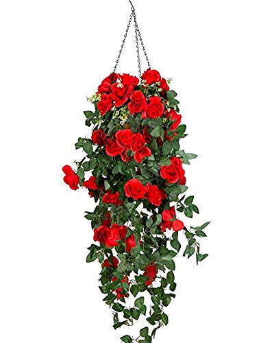Lopkey Artificial Rose Hanging Basket Decorative Silk ()