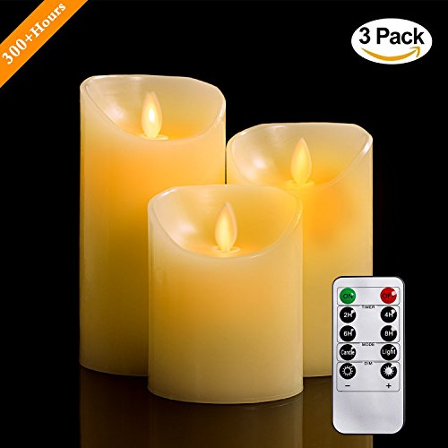 Flameless Candles, 4' 5' 6' Set of 3 Real Wax Not Plastic Pillars, Include Realistic Dancing LED Flames and 10-key Remote Control with 2/4/6/8-hours Timer Function, 300+ Hours-YIWER (3, Ivory)