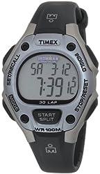 Timex Women's T5E971 Ironman Traditional 30-Lap Silver-Tone/Black Resin Strap Watch