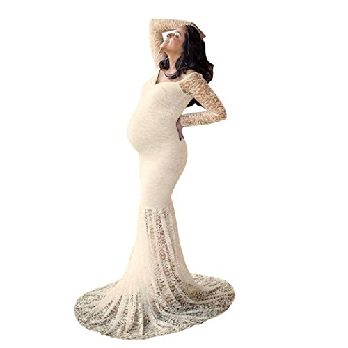 Maternity Elegant Fitted Maternity Gown Long Sleeve Off Shoulders Lace Maxi Photography Dress (Beige, M) by Bookear Dress