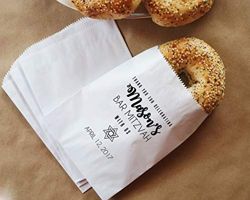 - Bar Mitzvah Bagel Bags, Breakfast Buffet, Brunch Bags, Donut Sacks, Bagel Bar, Hot Pretzels - Personalized - Lined, Grease Resistant - Set of 25