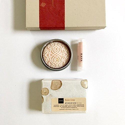 Kaya Rose Mini Gift Set | 100% Natural Handmade | Bath and Body Gift Set | Bridesmaid gift | Birthday gift | Welcome kit | Thanksgiving gift | Christmas Gift (Refreshing Natural)