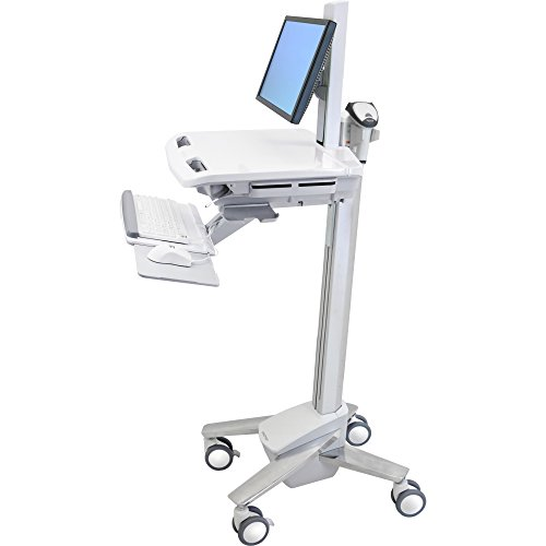 Ergotron SV40-6300-0 StyleView Cart with LCD Pivot, SV40 - Cart for notebook / keyboard / mouse / bar code scanner - plastic, aluminum, zinc-plated steel - gray, white, polished aluminum - screen size: up to 22 inch - mounting interface: 100 x 100 mm, 75 x 75 mm (Ergotron Styleview Notebook Cart)