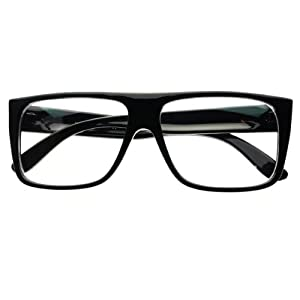 New Retro Style Clear Lens Square Flat Top Eye Glasses Frames (Black)
