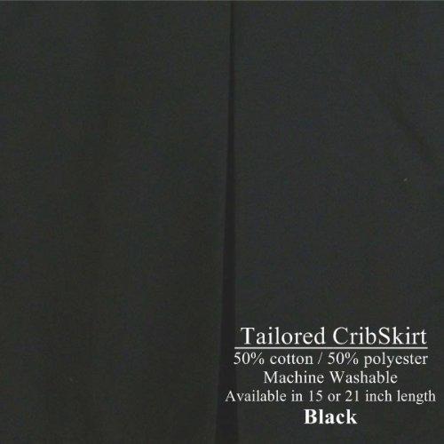 21 inch Cribskirt Tailored Crib Dust Ruffle BLACK