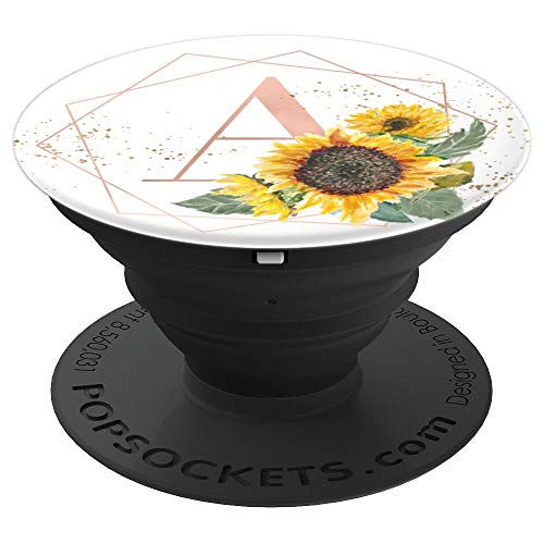 (Sunflowers Yellow Flowers Rose  White Monogram letter A - PopSockets Grip and Stand for Phones and)