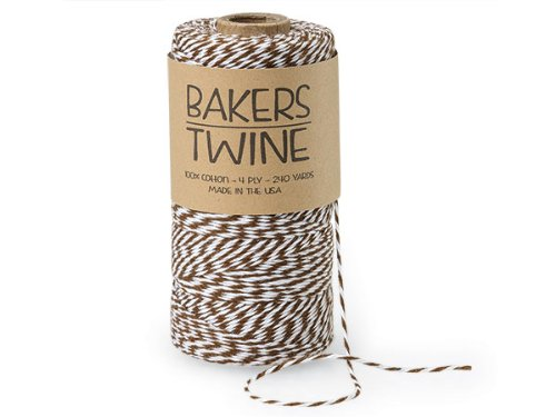 Pack Of 1, Solid Chocolate & White Baker'S Twine 240 Yds 4-Ply (2-Ply Chocolate & 2-Ply White) 100% Cotton Made In USA
