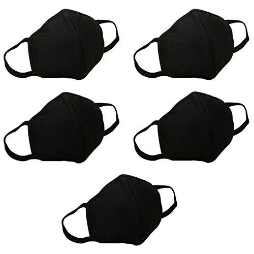 Marygel 5 Pcs Reusable Washable Activated Carbon Cotton Warm PM 2.5 Dust Masks Flu Masks(Black)