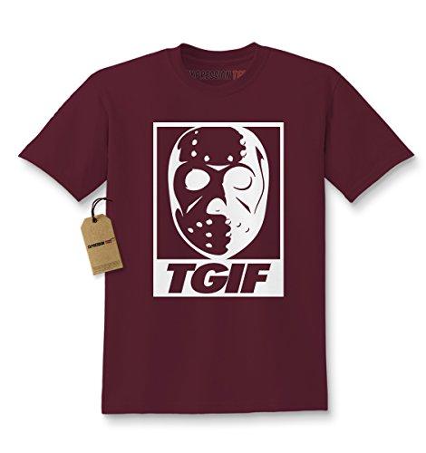 Expression Tees Kids TGIF Jason Hockey Mask T-Shirt Large Maroon (Maroon Mask)