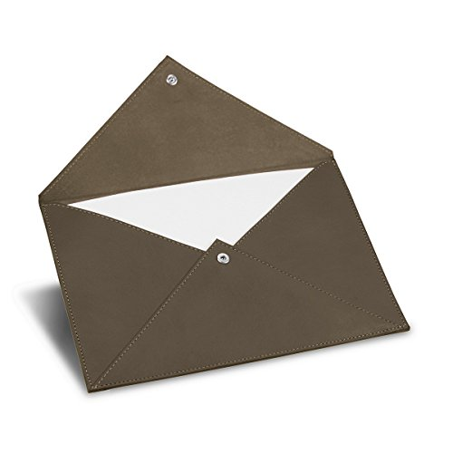 Lucrin - Rectangular A5 Envelope - Dark Taupe - Smooth Leather by Lucrin