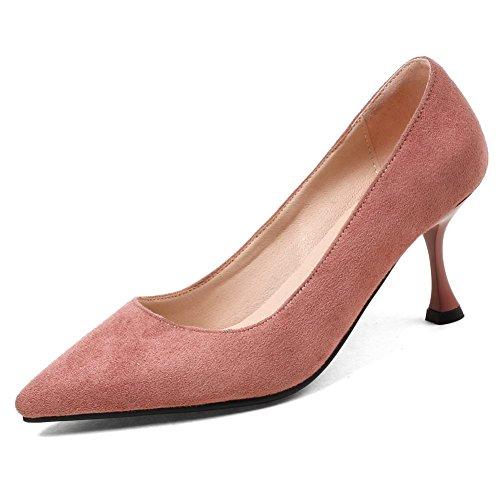 Pink Pumps Cut Pointed Toe Elegant on Slip KingRover Kitten Shoes Women's shoes Heels Office Low znHX7Yw6xq