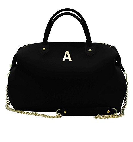 Borsa Bauletto Large In Neoprene Con Iniziali - nero, A