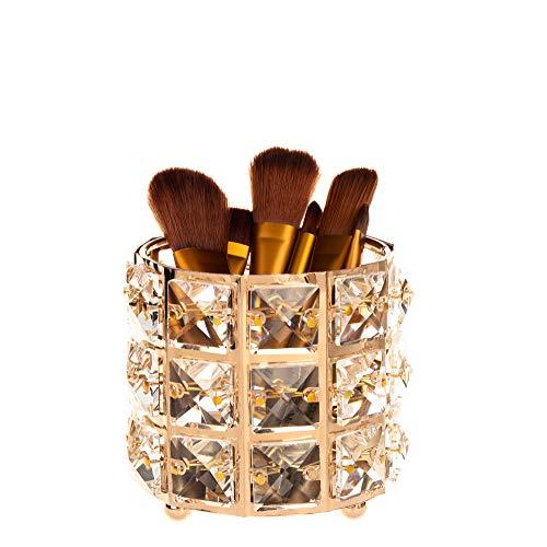 Feyarl Crystal Gold Makeup Brush Holder Sparkly Cosmetic Tools Pen Pencil Holder Storage Organizer ()