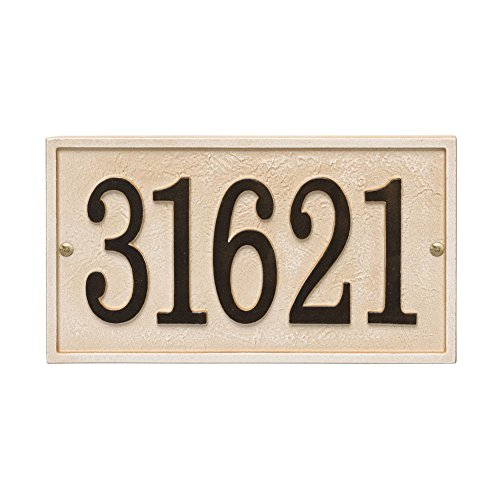 Whitehall Personalized Cast Metal Stonework House Number Custom Address Plaque Sign - Rectangle ()