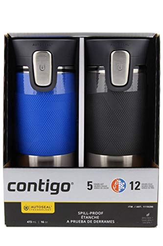 Contigo Autoseal Stainless Steel Spill-Proof Travel Mug, 16oz- Stock Blue & Gray (2 Pack)