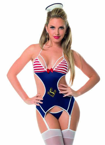 Escante Women's First Mate Cut Out Bustier with Hose, Navy/White, One Size - Escante Stretch Bustier