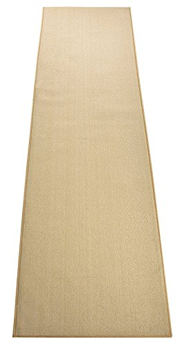 (Custom Size Runner Rug Solid Color Roll Runner 36 Inch Wide x Your Length Choice Antibacterial Slip Skid Resistant Rubber Back 26 Inch Also Available Premium Quality (Light Cream, 18 ft x 36 in))