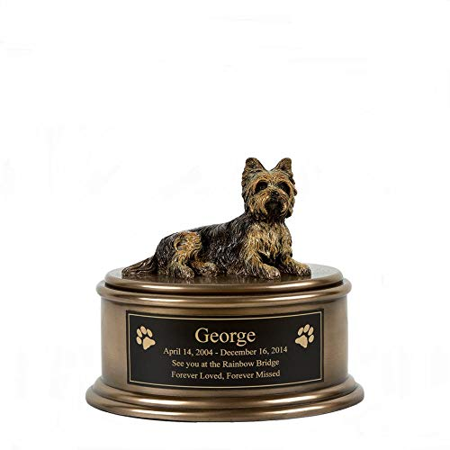 (Perfect Memorials Custom Engraved Yorkshire Terrier Figurine Cremation Urn)