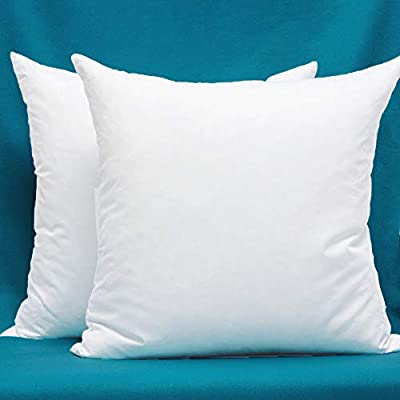 Set of 2, Cotton Fabric Pillow Inserts, Filled with Down and Feather Decorative Throw Pillows Inserts