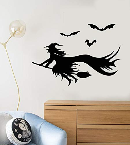 Vinyl Wall Decal Cartoon Witch Besom Halloween Bat Stickers 2395