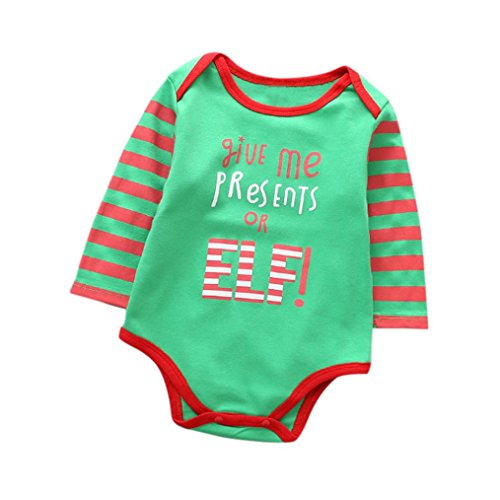 Mini Me Baby Costumes (Christmas Costume 'give me presents or ElF' Romper Jumpsuit Pajamas Outfits for Newborn Baby (12M, Green))