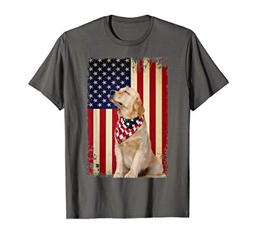 (Golden Retriever Smile Flag T Shirt, Golden Retriever dog A)