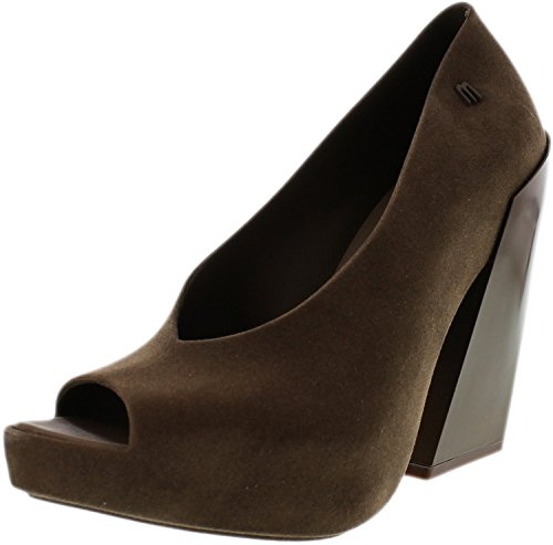 Melissa Womens Boho Ankle-High Pump Brown Flocked 7NwhXbr